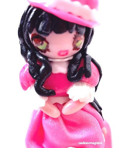 poupée princesse en fimo robe longue rose : cadeau fille original