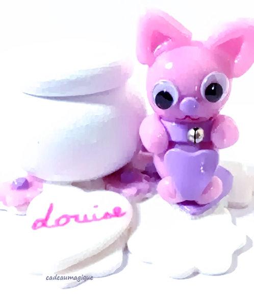"""boite en bois """"Louise""""  chat rose mignon fimo : cadeau enfant"""