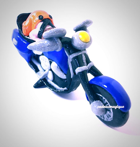 moto avec bébé motard fimo - cadeau naissance personnalise