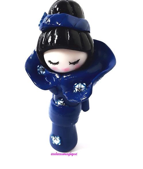 poupee fimo - kimmidoll - kimono japonais bleu - cadeau unique