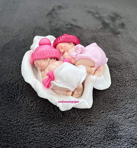 duo de bébé fille en fimo pour naissance jumelles