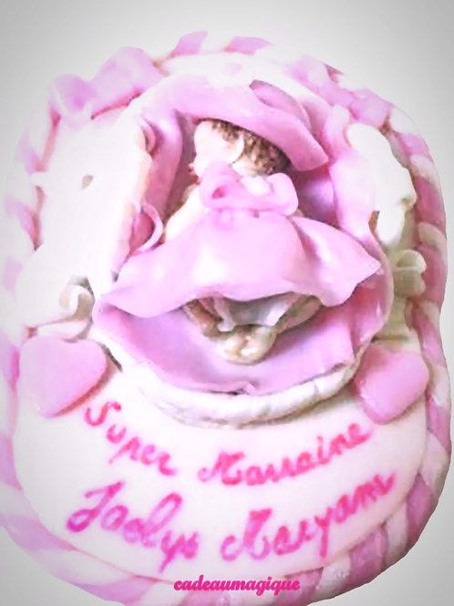 bébé miniature fille robe bapteme rose - fimo - cadeau naissance personnalise