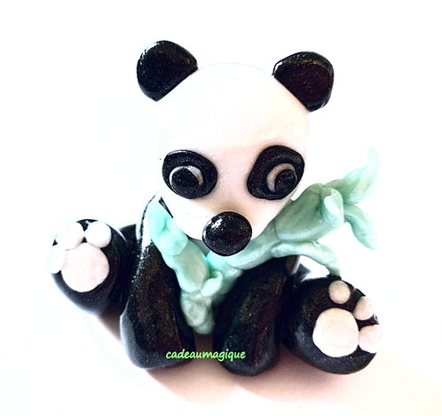 mignon panda kawaii et bambou en fimo : cadeau enfant