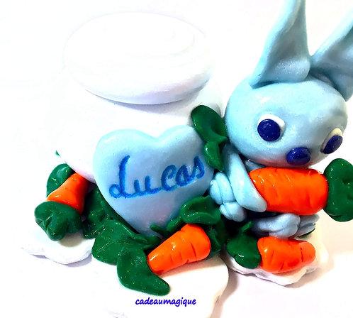 boite ronde bois lapin kawaii fimo : boite à dents de lait