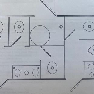 Layout of 5-station restroom trailer