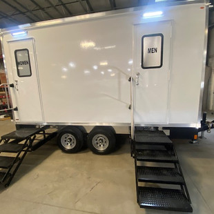 Outside view of 5-station restroom trailer