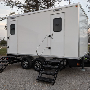 Outside view of restroom trailer