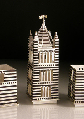 Vicki Ambery-Smith, Siena Cathedral Bell Tower, a set of three boxes,2012, sterling silver, 18 cms x 4.2 cms, collection, Victoria and Albert Museum, London, photo Vicky Ambery-Smith.