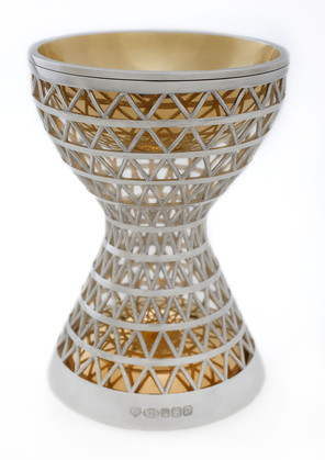 Karen Westland, Gravitational Pull Goblet, 2014, sterling silver and 24 carat gold plating, 80 mms x 80 mms x 120 mms, private collection, photo Graham Clarke.