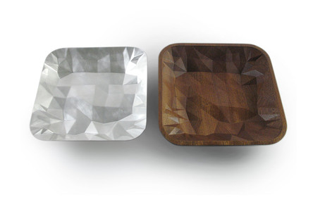 124: Kathryn Hinton, Faceted Square Dish, 2014, Britannia silver and sapele wood, 4.5 cms x 22 cms x 22cms, Kathryn Hinton's collection, photo Kathryn Hinton.