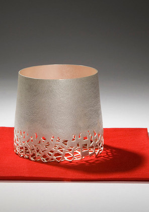 Anna Lorenz, Object on Red, 2009, fine silver, 9 cms x 10 cms, felt, 13 cms x 13 cms, private collection, photo Graham Hughes.
