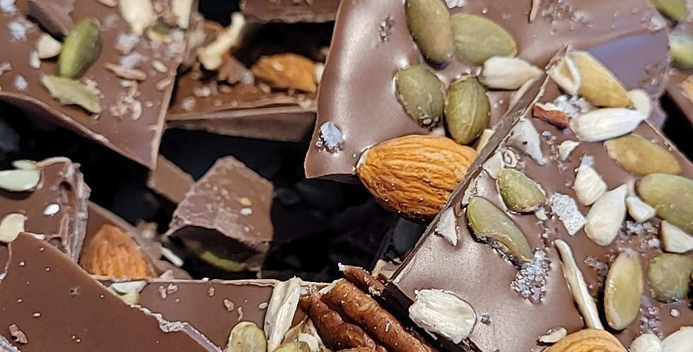 Écorces de chocolat mélange de noix et fleur de sel 120g