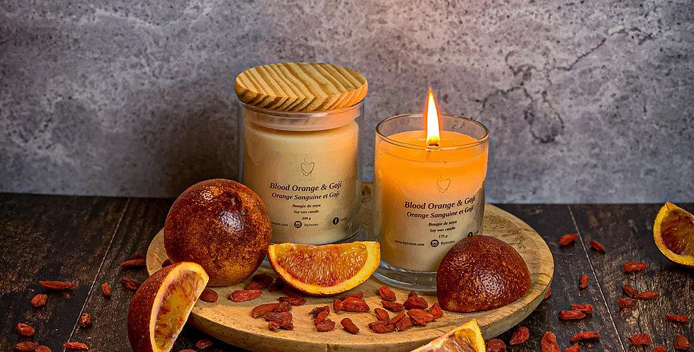 Chandelle orange sanguine et goji