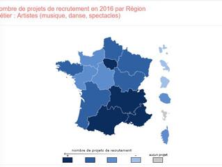 Nombre de projets de recrutement en 2016 par Région - Métier : Artistes (musique, danse, spectacles)
