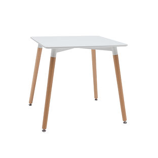 BELLA 80X80CM WOODEN LEG DINING TABLE WH