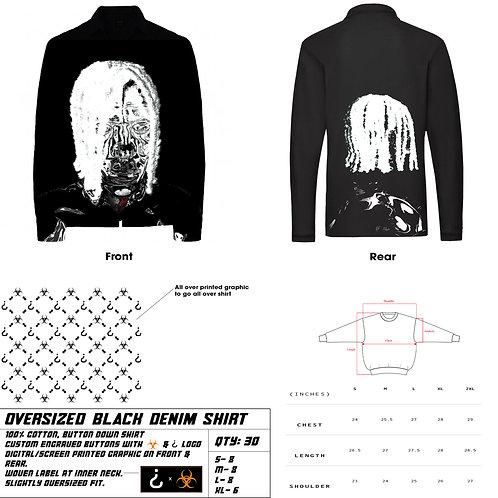 Oversized Matte Black Denim Shirt