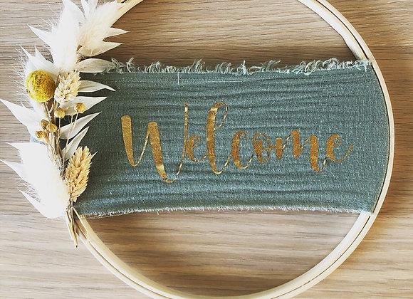 """Couronne fleurs séchées """"Welcome"""" 20cm"""