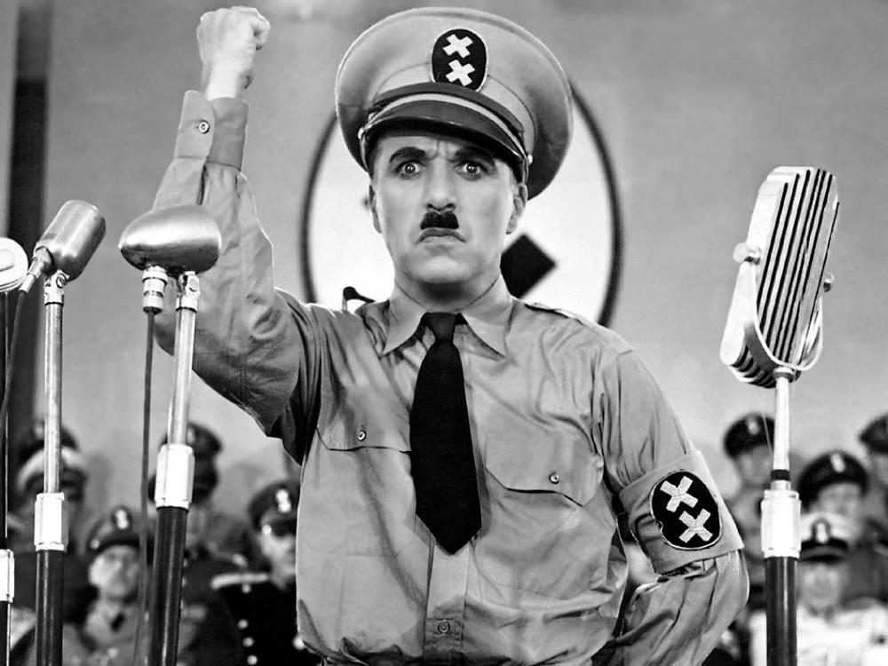 Charlie Chaplin dressed like Adolf Hitler