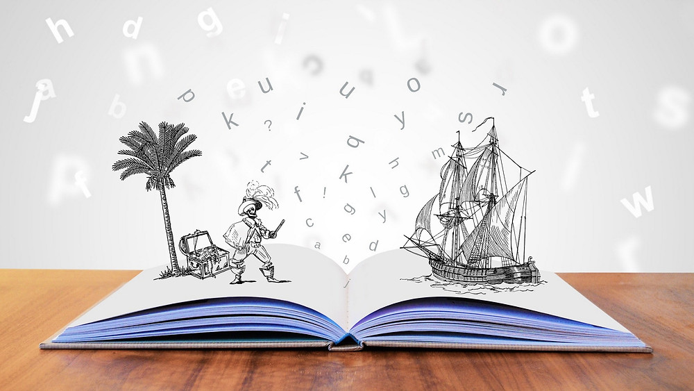 Story book pirates sketches come to life from the page.