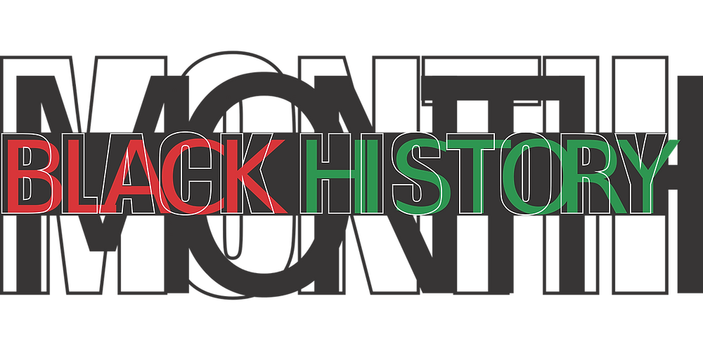"A stylish black and green ""Black History Month"" logo"