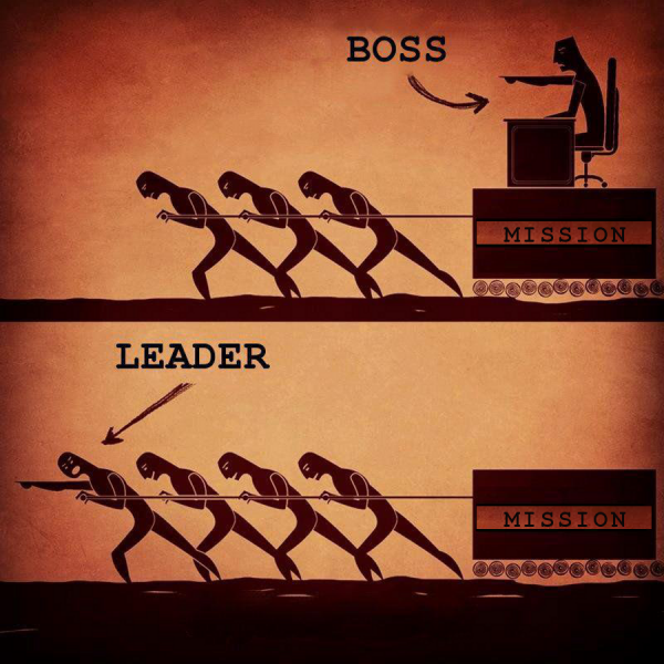 A picture that shows the difference between a boss and a leader