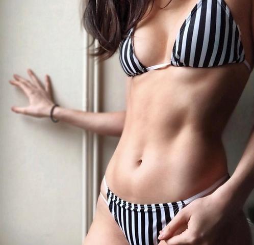 LOLA Black and White Striped Bikini