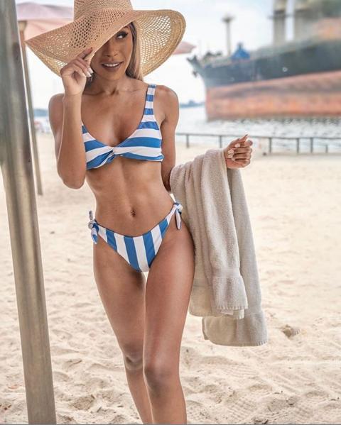 EMMA Blue and White Striped bikini
