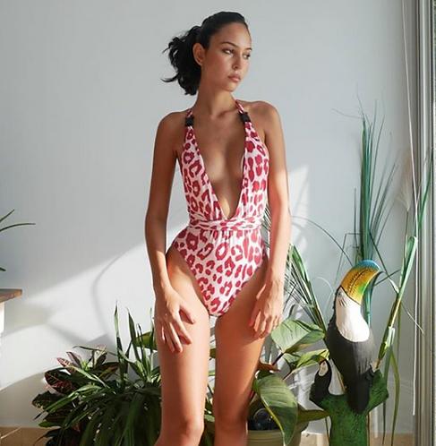 TORI Pink Leopard Print One piece