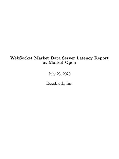 Cryptocurrency WebSocket Market Data Server Latency Report - One Time