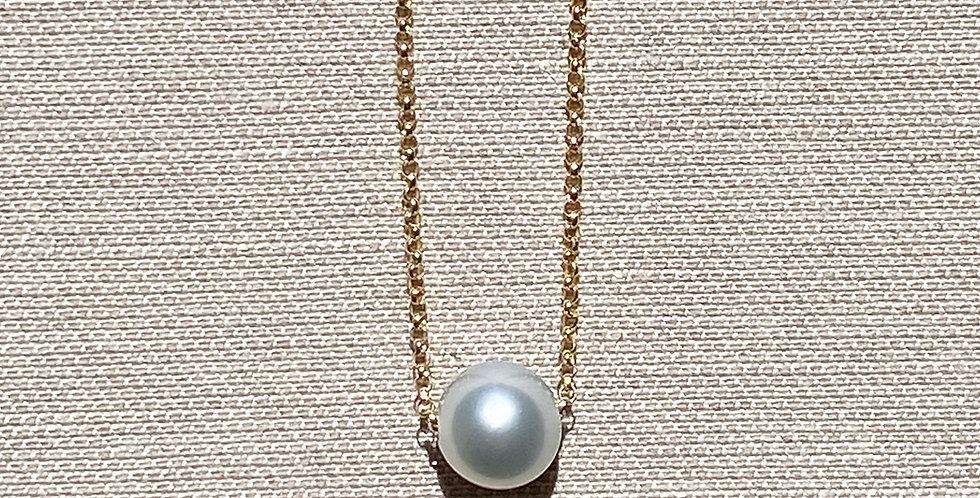 Momi Necklace (silver Tahitian pearl)