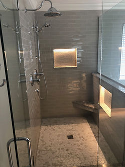 Custom Shower with lighted wall niche