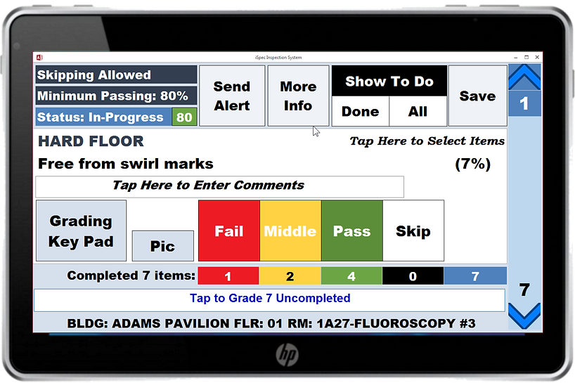 Screenshot of iSpec software designed for a touch screen