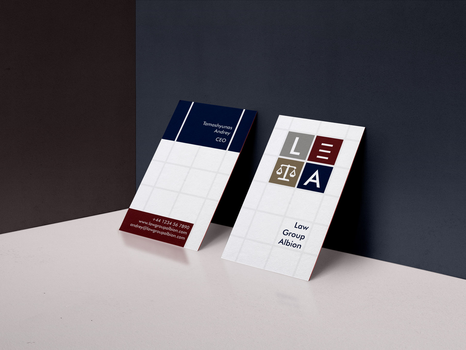 Law Group Albion business cards