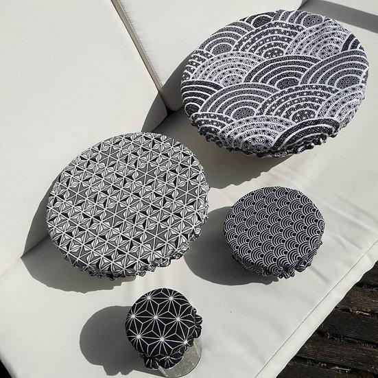 Lot 4 charlottes couvre plat coton doublé lin - Décor au choix