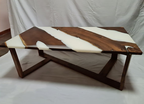 Unique black wattle timber and white resin coffee table