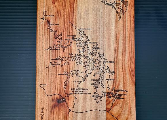 Lake Monduran engraved cutting board