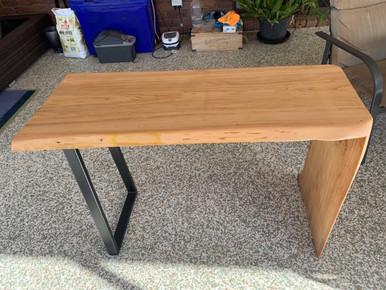 Pine waterfall hall table with black steel leg
