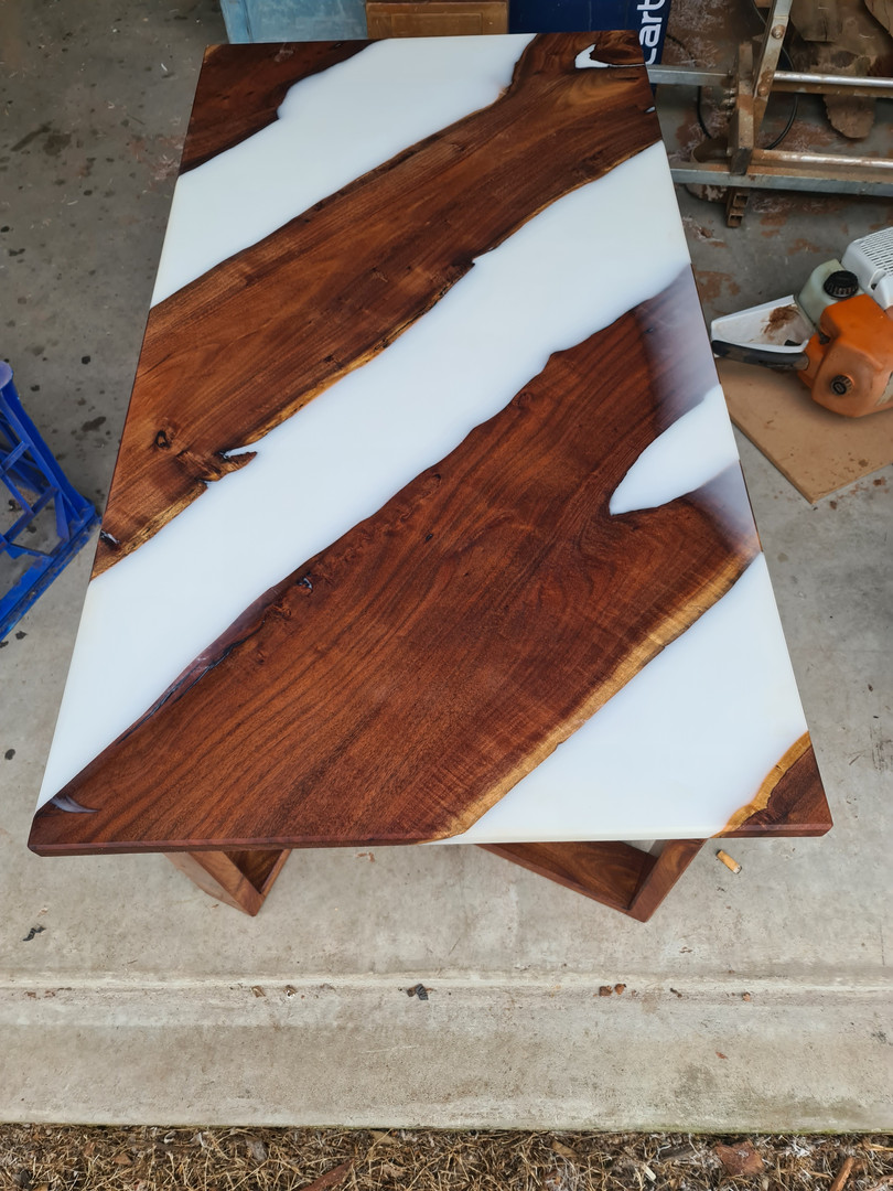 Black wattle coffee table with white resin