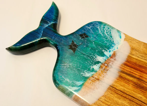 Baby whale tail charcuterie board with resin art