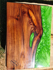 Apple green resin and black wattle serving board
