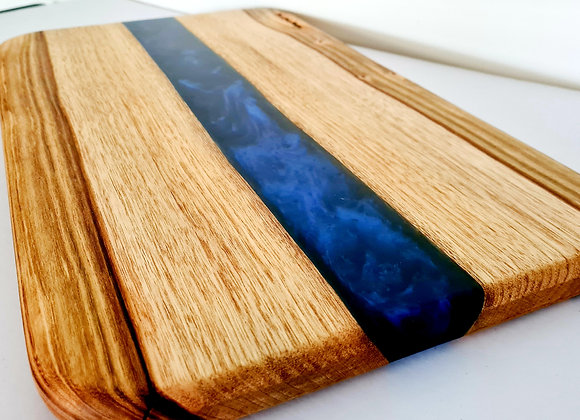 Dark blue mix timber and resin serving/cutting board
