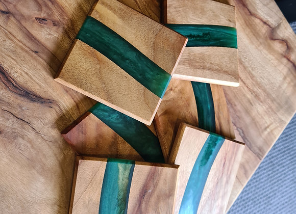 Timber and resin coasters