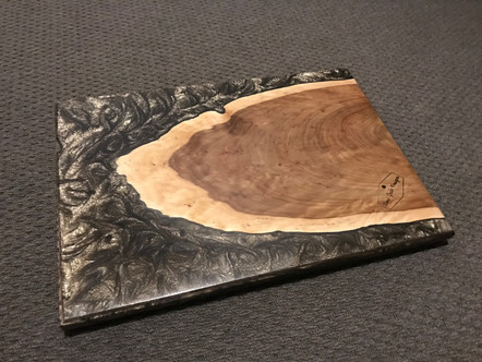 Slab piece of timber with resin