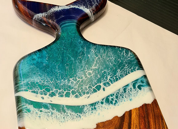 Whale tail charcuterie board with resin art