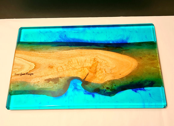 """""""The Sand Bar """" timber and resin serving/cutting board"""