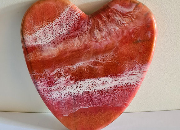Resin Art Heart Charcuterie Board