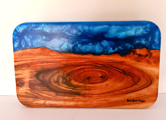 Light metallic blue mix timber and resin serving/cutting board