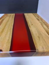 Camphor Laurel & red see through resin serving board