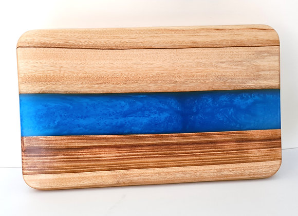Metallic blue river timber and resin serving board