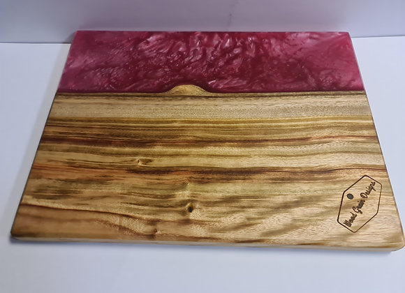 Pearl Collection - Dusky pink timber and resin serving board